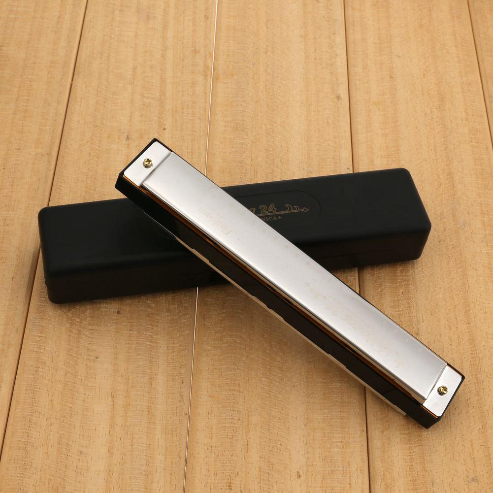 Silver Harmonica Metal 24 Holes With 48 Tones Tremolo Harmonica C Key Octave-tuned Mouth Organ with Case For Harmonica Beginner все цены
