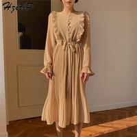 HziriP New Vintage Waist Controlled Simple Free Elegant O Neck Chiffon Dress Women Polka Dots Elegant Ladies Mid Calf Dresses