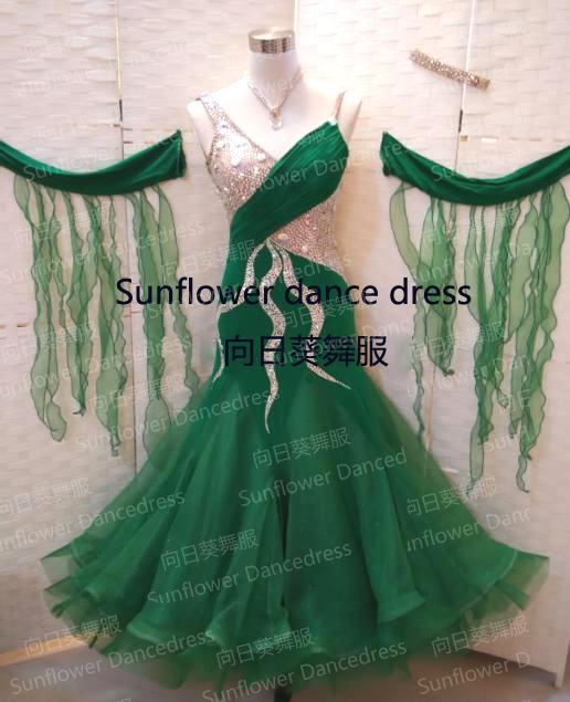 Competition Slik organza ballroom Standard dance font b dress b font dance clothing stage wear ballom