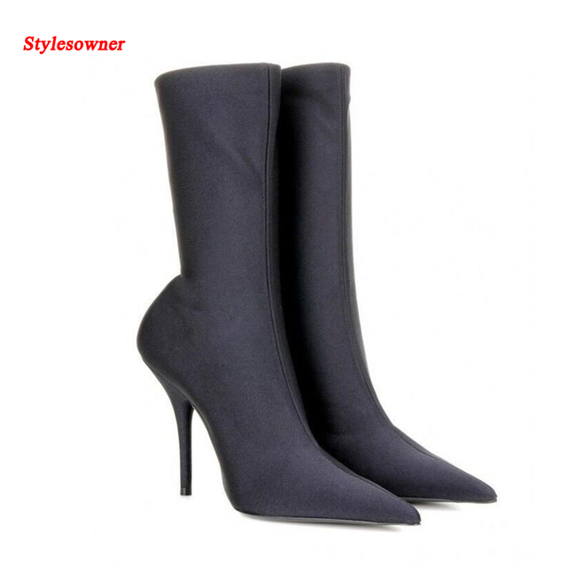 c51d7619c6cd0 Stylesowner Super Sexy Runway Femme Ankle Boots Slim Pointed Toe Stiletto  High Heel Stretch Cloth Bota Fashion Women Bootie