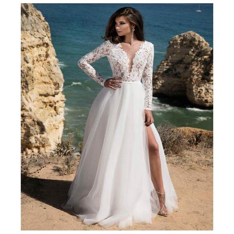 Long Sleeves Boho Wedding Dress 2019 Backless Side Split Appliques Lace A Line Tulle Vintage Bride Dresses Wedding Gown