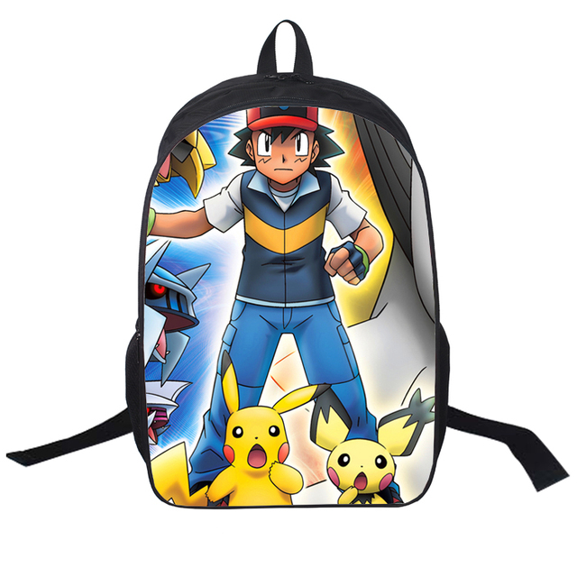 2016 Fashion 3D Printing Backpack 16 Inch Pokemon School Bag High Quality  Cute Cartoon Bag For Kids Popular Game Backpack 518a54256d