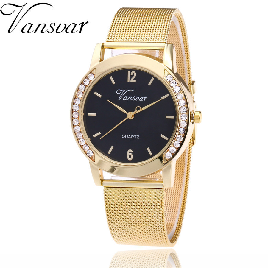 New Fashion Gold Silver Mesh Band Quartz Watch Casual Women Metal Stainless Steel Rhinestone Watches Relogio Feminino Clock misscycy lz the 2016 new fashion brand top quality rhinestone men s steel band watch quartz women dress watch relogio feminino