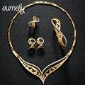 OUMEILY Banhado A Ouro Brincos Colar Conjuntos de Jóias de Casamento Mulheres Imitação Beads Africanos conjunto de Jóias De Cristal Do Vintage Acessórios