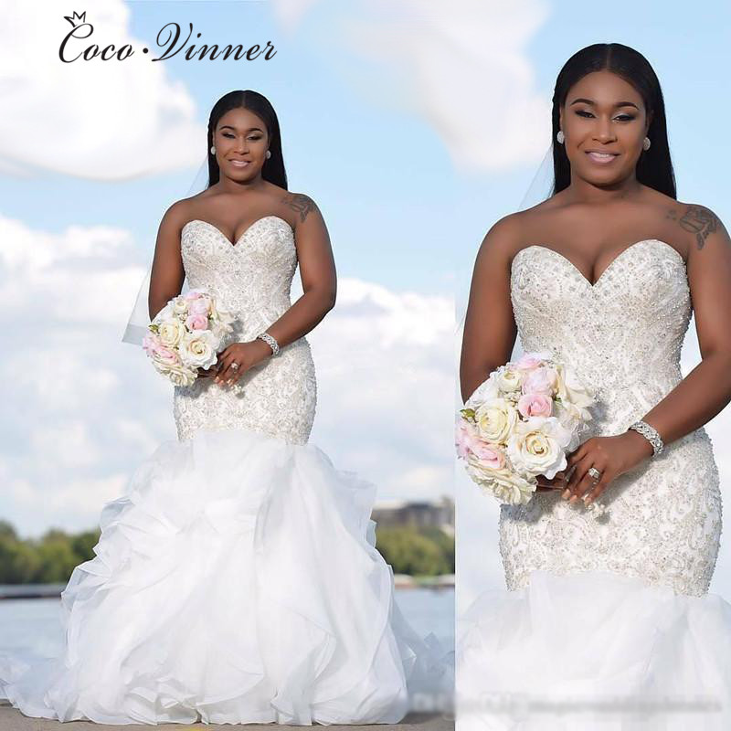 Beautiful Beading Luxury Mermaid Wedding Dresses Bridal Gown Africa 2019 New Off Shoulder Crystal Wedding Dresses