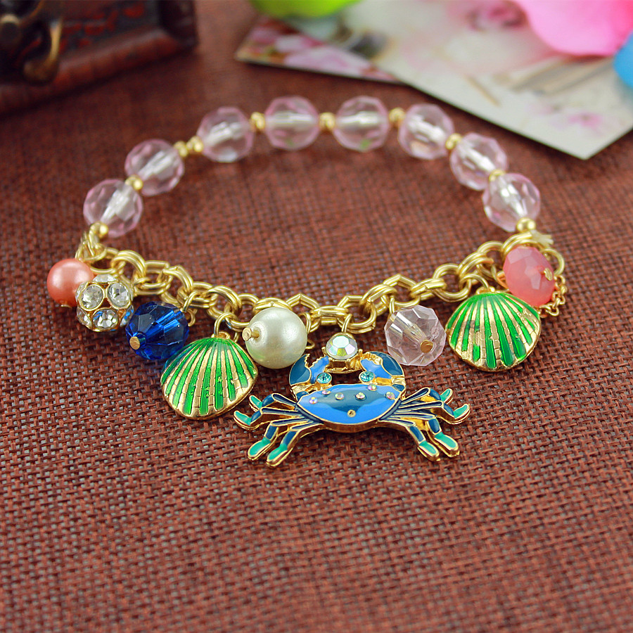 XQ Free shipping 2015 The diversity of euramerican style new alloy woman gold bracelet green crab Bangles