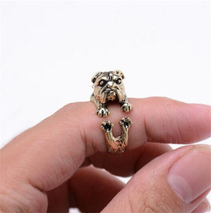 RONGQING Cute Vintage Silver Crazy America Bulldog Rings Adjustable Rustic Hound Rings for Women Animal JZ-013