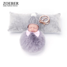 ZOEBER Rabbit Fur Ball Key Chain Bow Sleeping Baby Doll Keychain Pompom Car Keyring Women Key Holder Bag Pendant Charm Jewelry