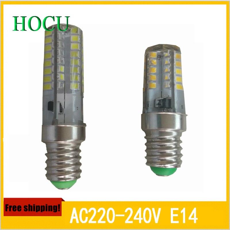 10pcs/lot Newest Mini LED lamps E14 2835 SMD 64LEDs 9W Crystal Chandelier 220V 240V Spotlight Silicone LED bulbs Pendant light