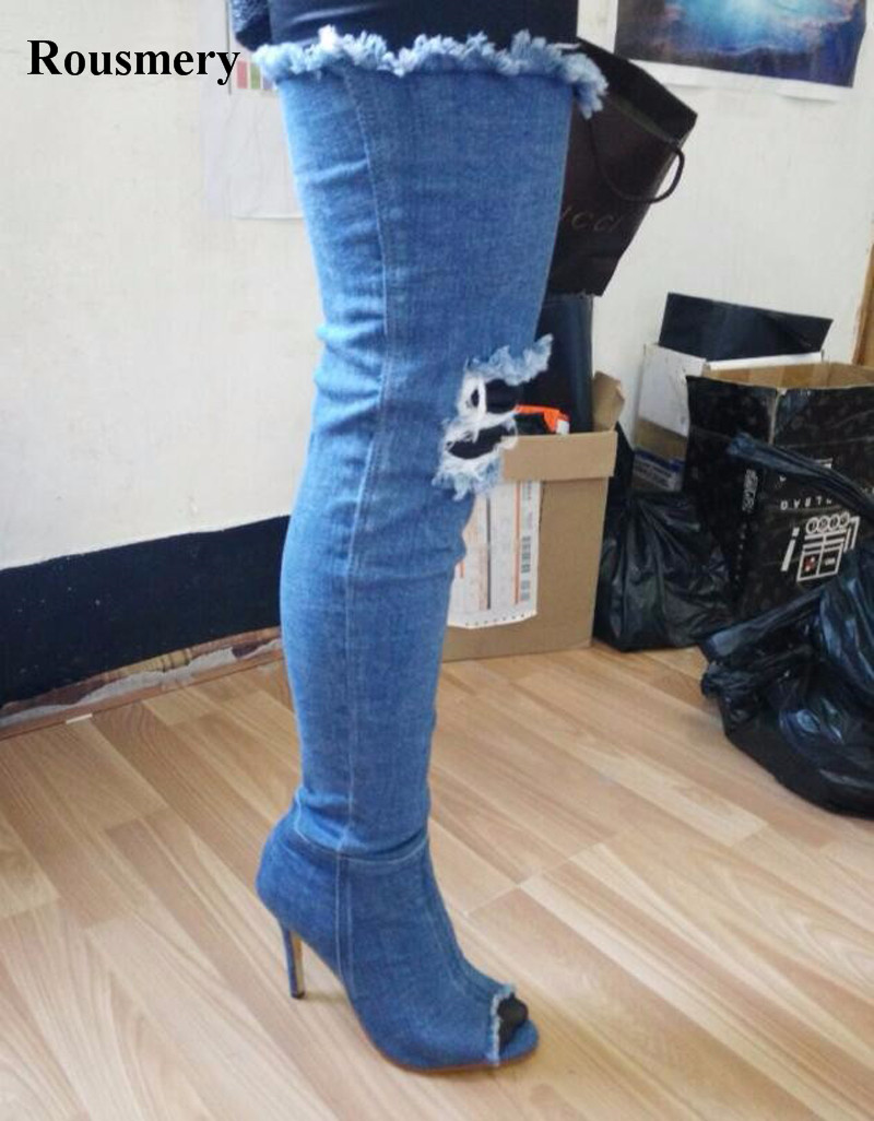 New Popular Women Fashion Open Toe Over Knee Denim Gladiator Boots Cut-out Slim Jean Long High Heel Boots Sexy Boots sexy kim kardashian stretch fabric gladiator over the knee boots cut out thick heel high heel long boots fashion open toe boots