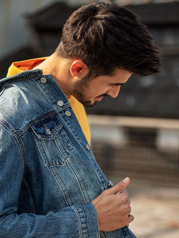 Simwood 2019 새로운 봄 짧은 데님 재킷 남자 캐주얼 브랜드 의류 슬림 남성 패션 청바지 겉옷 플러스 사이즈 코트 190034-에서재킷부터 남성 의류 의  그룹 2