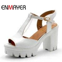 ENMAYER Verano nueva Dulce Plataforma de Moda Sandalias de Tacón Alto Zapatos de Las Mujeres Ocasionales de Roma T correas Sandalias de tacón grueso grande tamaño 34-43