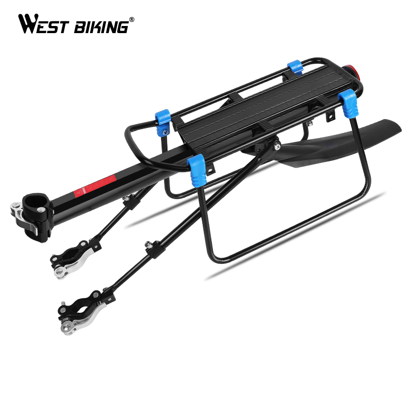WEST BIKING MTB Bike Racks with Fender Aluminum Transport Rear Bicycle Rack 55*14.5 cm Cycling Cargo Shelf Luggage Carrier 2018 bike luggage cargo rear rack can be acted as power bank useful bicycle rear carrier racks new bicycle accessories
