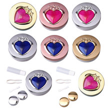 Contact Lens Box Heart With Mirror Travel Portable Case Storage Container Luxury colored eye contact lenses eye contacts luxury roundness contact lens case color water eye lens box popular travel lens case contact with mirror