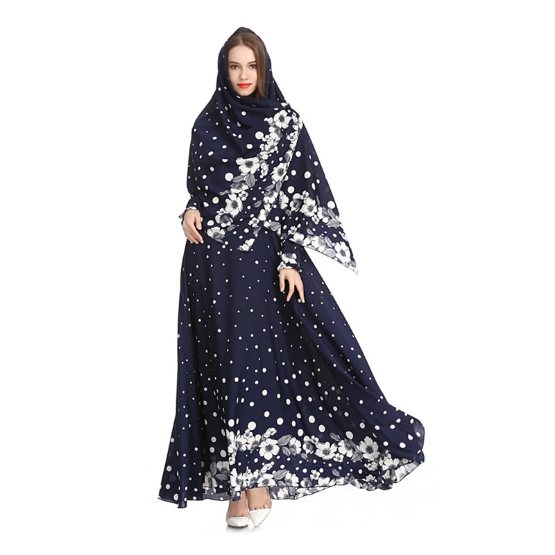 Islamic Women's Yellow Blue Black Chiffon Abayas Muslim Long Sleeve Fashion Dress Arabic Dubai Turkish Women Clothing