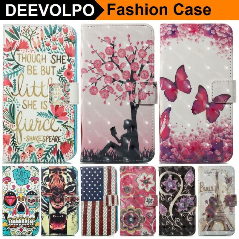 DEEVOLPO Painted Case For Apple iphone 8 7 6S 6 Plus 5 5S SE Touch Leather + Silicone Holder Wallet Back Cover DP23Z
