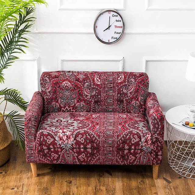 Vintage Red Sofa Cover Polyester Plaid On The Sofa Spandex Slipcover Tight  All-Inclusive Elastic Fabric Floral Sofa Covers