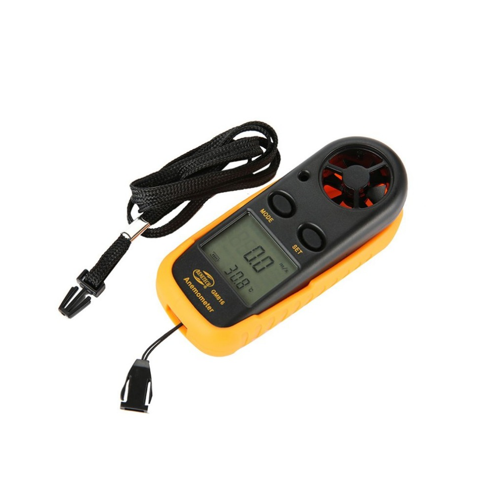 BBENETECH GM816 Digital Anemometer Windmeter Thermometer  Air Velocity Airflow Temperature Wind Speed Gauge With LCD Backlight