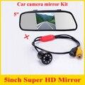 """Promoção 2 em 1 estacionamento sistema HD CCD visão noturna de backup Car invertendo Car rear view camera 5 """" HD Monitor de espelho de carro"""