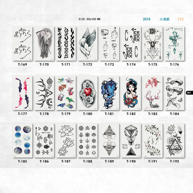 Abstract Tatoo Temporary Stickers Men Fish Flower Beauty Geometric