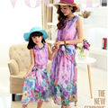 Authentic 2016 Mom and Daughter Dress with Belt Long Maxi Summer Vacation Dresses Family Beach Dress Chiffon Girls & Women Dress