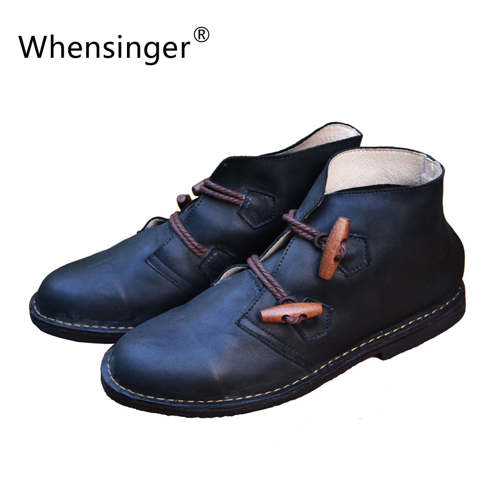 ФОТО Whensinger - 2016 Women Shoes Spring Boots Solid Handmade Vintage Genuine Leather Fashion Lace-Up X1502