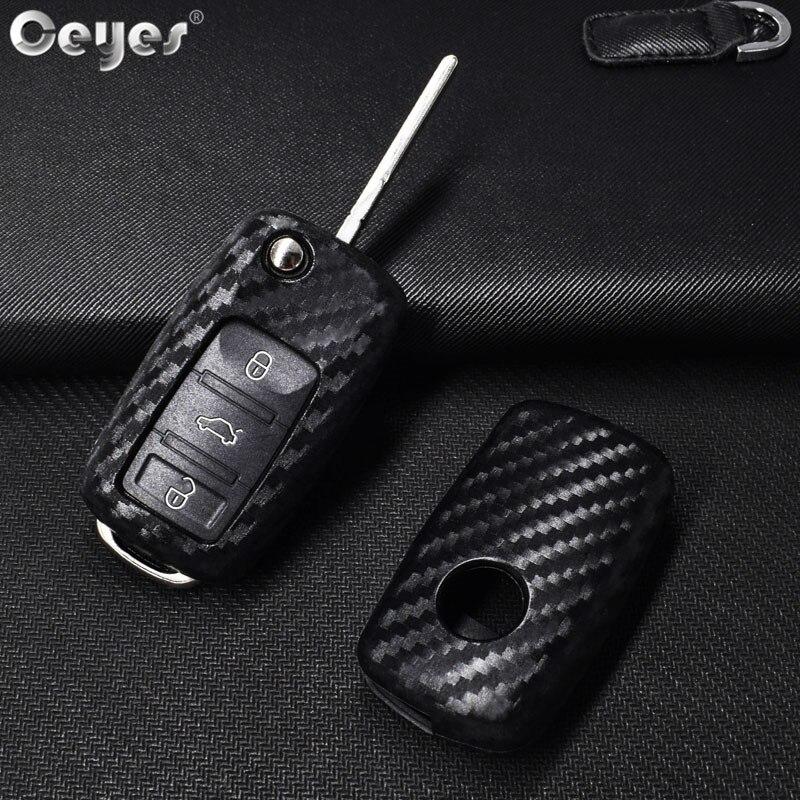 Чехол для автомобильного ключа Ceyes, крышка из углеродного волокна для Volkswagen Polo Tiguan VW Passat, Стайлинг автомобиля