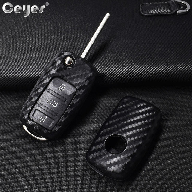 Ceyes Car Styling Auto Key Shell Case For Volkswagen Polo Tiguan VW Passat For Skoda Cover Car-Styling Carbon Fiber Accessories