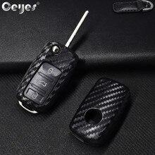 Ceyes Car Styling Auto obudowa kluczyka Case dla Volkswagen Polo Tiguan VW Passat dla Skoda pokrywa samochód stylizacji akcesoria z włókna węglowego