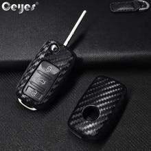 Ceyes רכב סטיילינג אוטומטי מפתח Shell Case עבור פולקסווגן פולו Tiguan פולקסווגן פאסאט עבור סקודה כיסוי מכונית סטיילינג פחמן סיבי אבזרים
