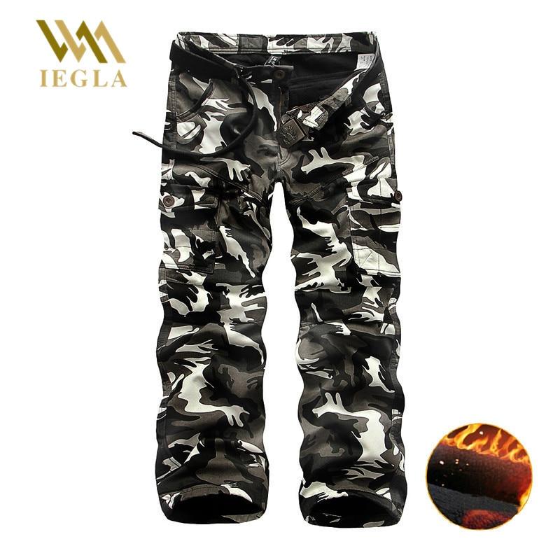 Pants Men Camouflage Military Camo Pants Male Plus Velvet Thick Long Baggy Trousers Casual Sweatpants Jogger Warm Fleece