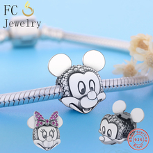 925 Sterling Silver Two-tone Minnie Mickey Portrait Clip Charm Fit Original Pandora Bracelet Beads 2019 Winter DIY Jewelry