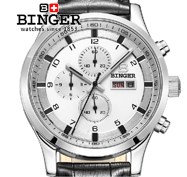 Switzerland Luxury Brand Wristwatches Men's watch BINGER Quartz Genuine Leather Strap Watch Men Waterproof Clock BG-0403-5