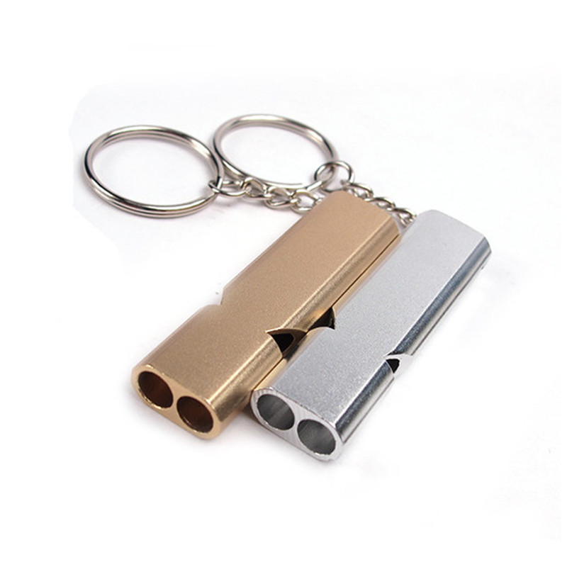 Double Pipe High Decibel Aluminum Alloy Outdoor Emergency Survival Whistle Keychain Cheerleading Whistle Multifunction Tool