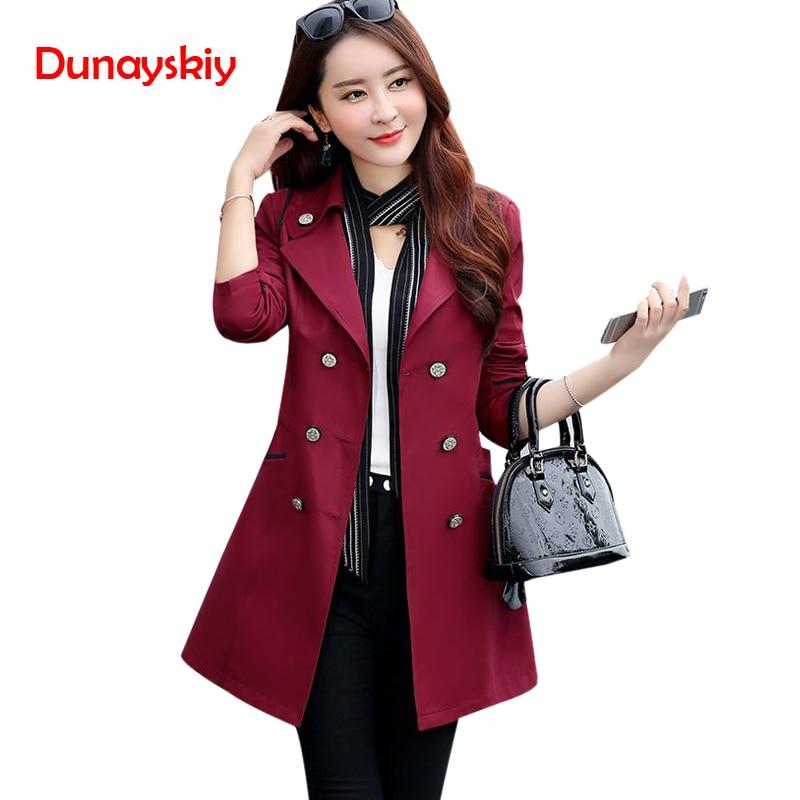 Autumn New Women's Trench Coat Korean Style Fashion Designer OL Elegant Female Overcoat Mantle Cloak Long Solid Trench Femme