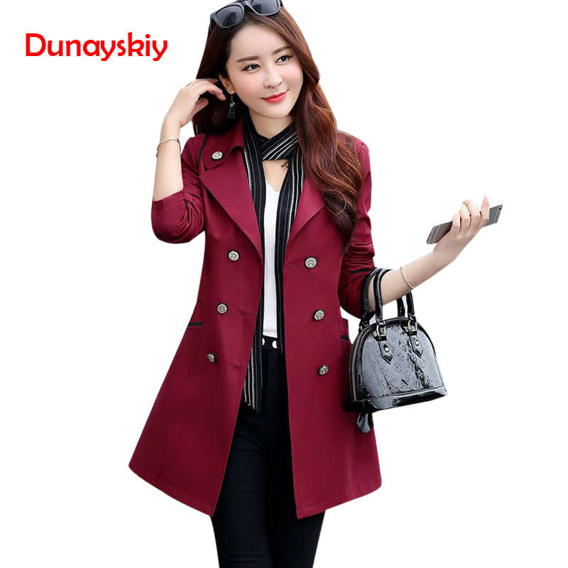 Autumn New Women's   Trench   Coat Korean Style Fashion Designer OL Elegant Female Overcoat Mantle Cloak Long Solid   Trench   Femme