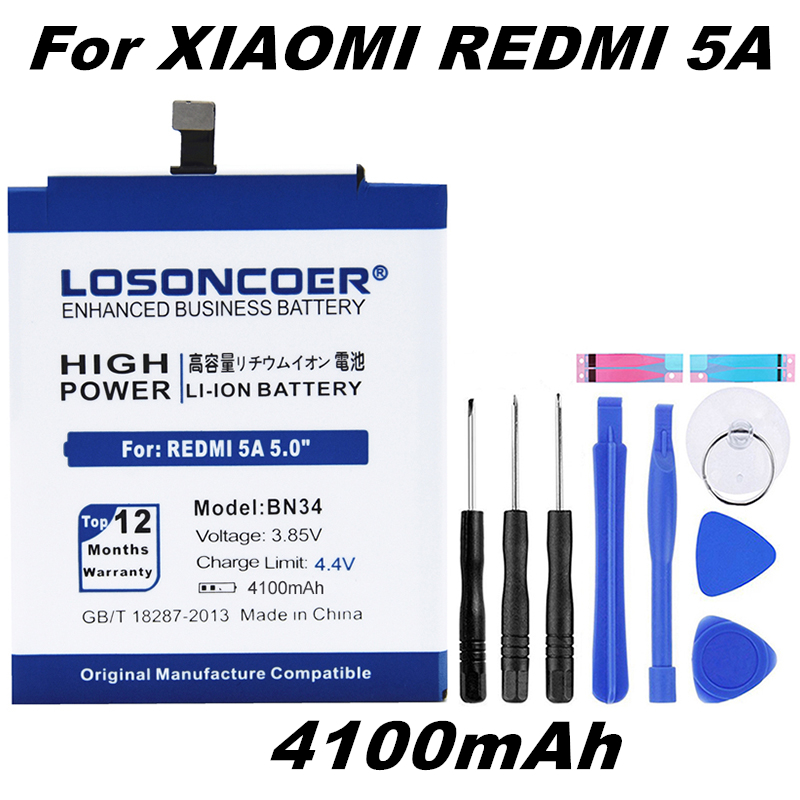 LOSONCOER 4100mAh BN34 Good Quality Phone Battery For Xiaomi Redmi 5A 5.0