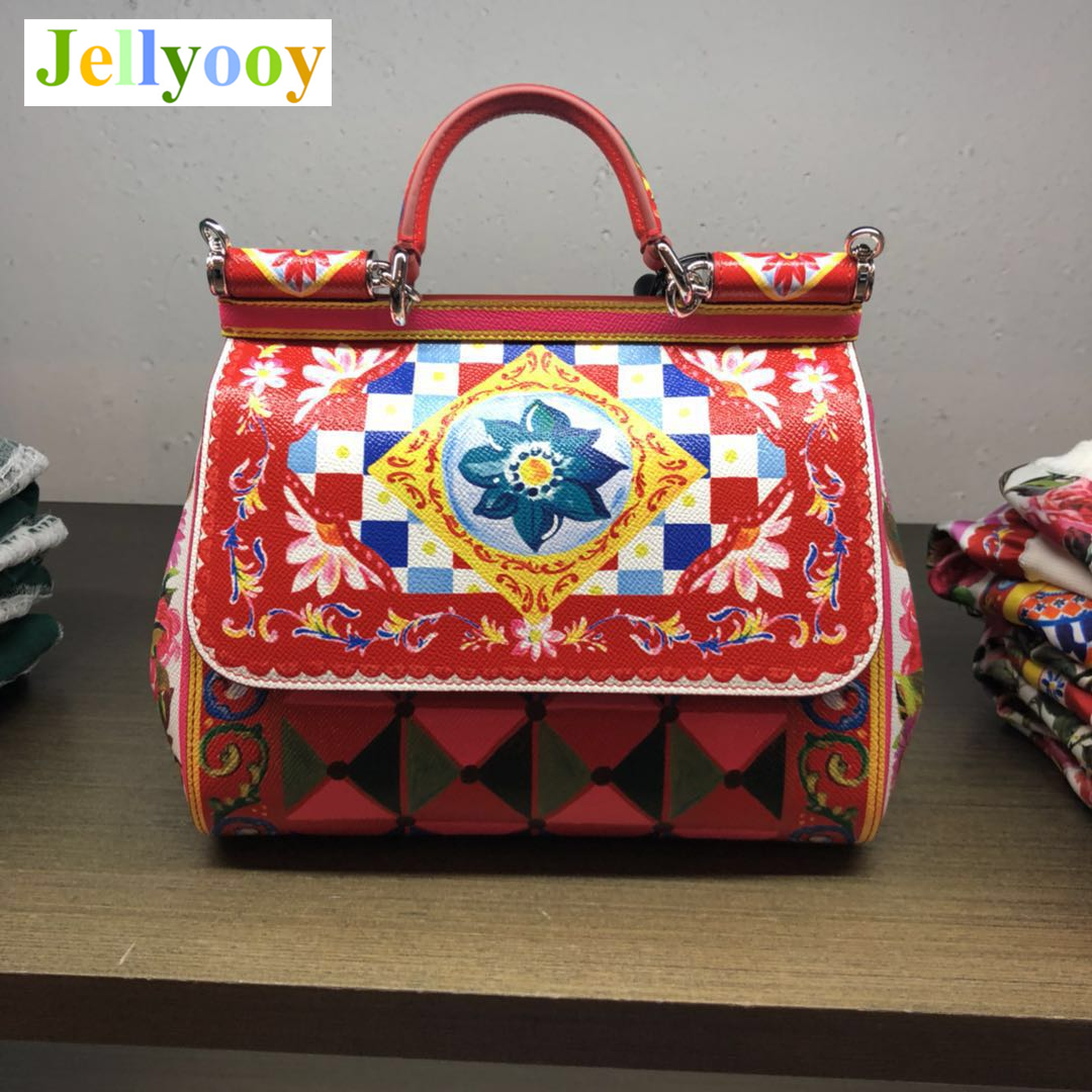 Luxury Italy Brand Print Sicilian Bags Genuine Leather Tote Bag Women Platinum Bags Female Shoulder Bag/Handbag Original Quality luxury italy brand sicily ethnic bag genuine leather women casual tote platinum bags star moon print lady shoulder messenger bag