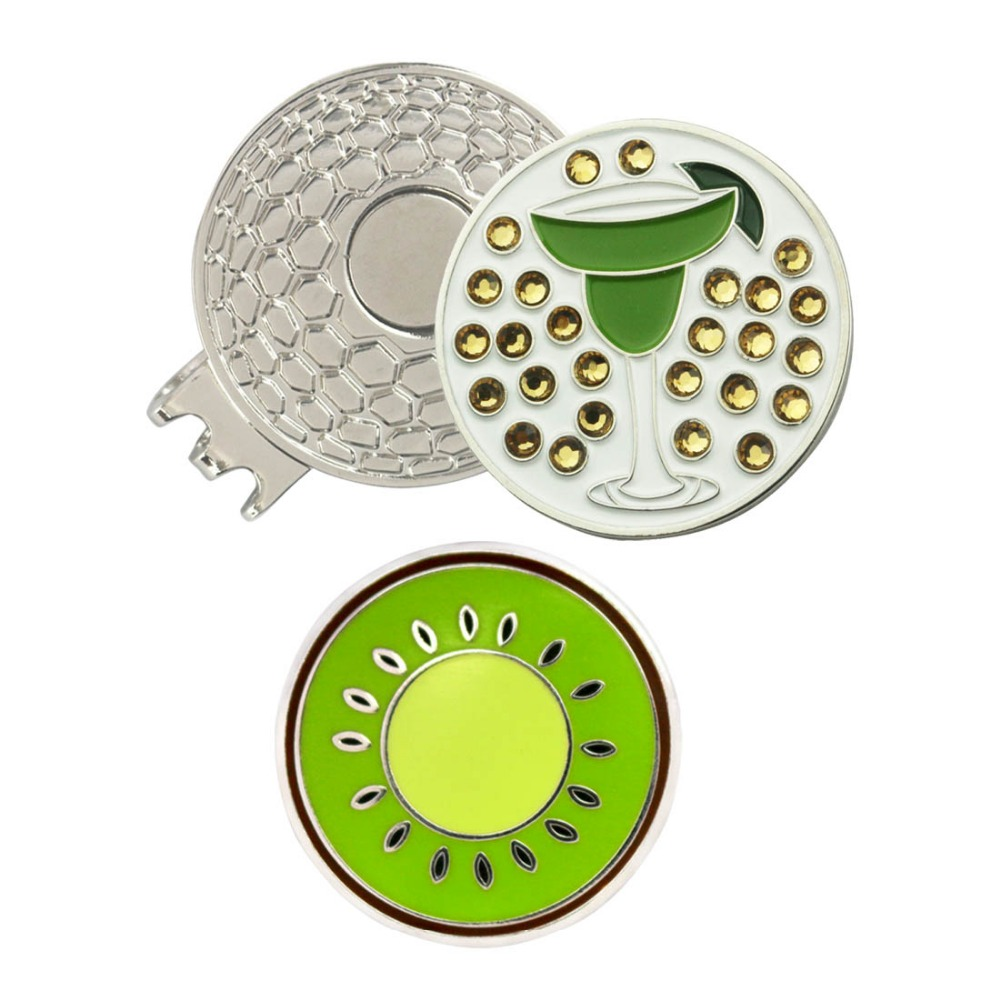 PINMEI Golf Ball Mark Magnetic Hat Clip Sets 1pc Crystal Margarita Glass Golf Marker And 1pc KIWI Marker & 1pc Magnetic Cap Clip