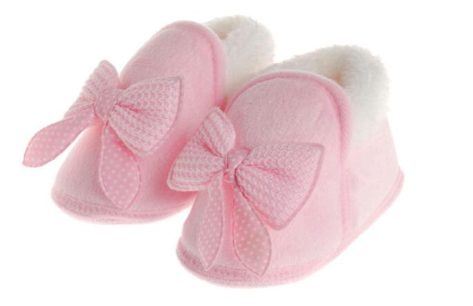 New Toddler Girl Big Bow Baby Winter Walker Shoes Soft Sole Infant Bow-knot warm Cotton Shoes 3-12M Mules & Clog J457