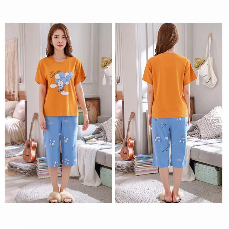 Yfashion Summer Pajamas Sets Homewear Women Cute Cartoon Print Short Sleeve Tops Cropped Trousers Pajamas 2pcs set Femme in Pajama Sets from Underwear Sleepwears