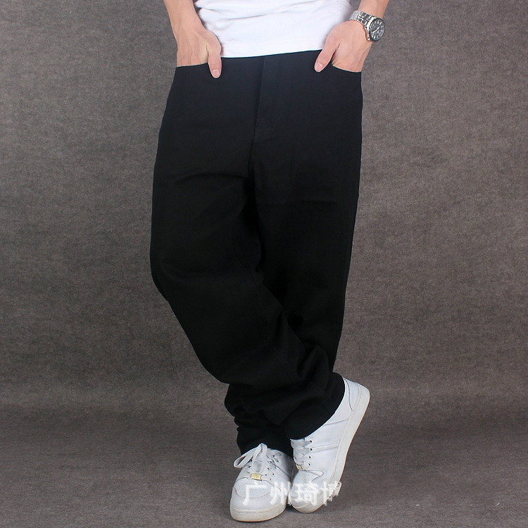 2016 New Arrival Mens Hiphop Baggy Cotton Denim Jeans Loose Fit For Street Dancing Wide Leg Plus Size Up To 44 46 Pure Black Hot