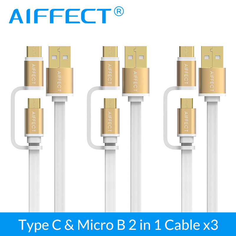 AIFFECT Unique 2 in 1 USB Type C Cable /Type-c Micro 3 Pack For Galaxy S7 Note 7 HTC MEIZU Android 1M Fast Charge Universal