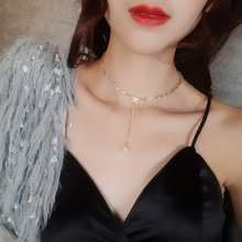 Elegant Rhinestone Circle Long Necklace For Women Silver Color Chain Adjustable Tassel Pendant Pearl Necklace цена