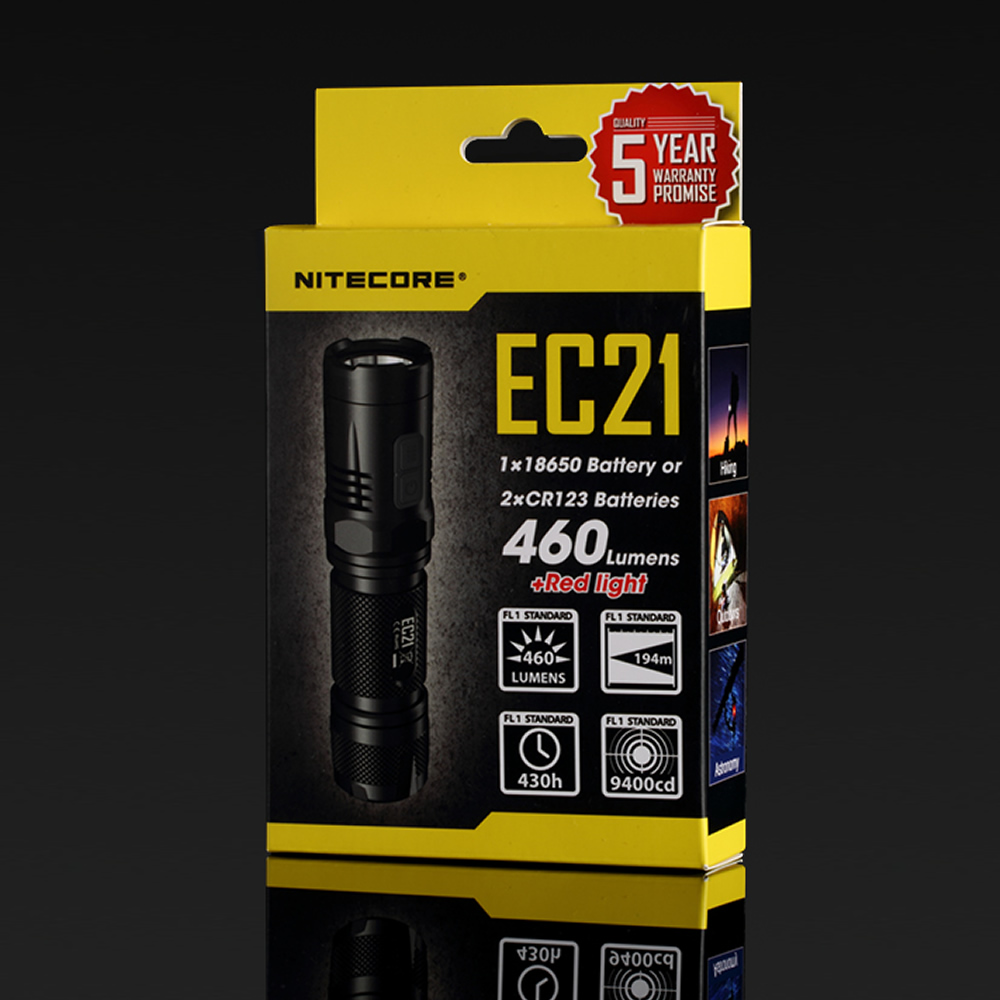 SALE NITECORE EC21 Whithe+ Red CREE XP-G2 R5 LED Flashlight Aluminum Alloy Waterproof Torch Without 18650 Battery Free Shipping nitecore ec21 waterproof 460lm 7 modes xp g2 r5 led light lamp 18650 cr123 torch flashlight not battery