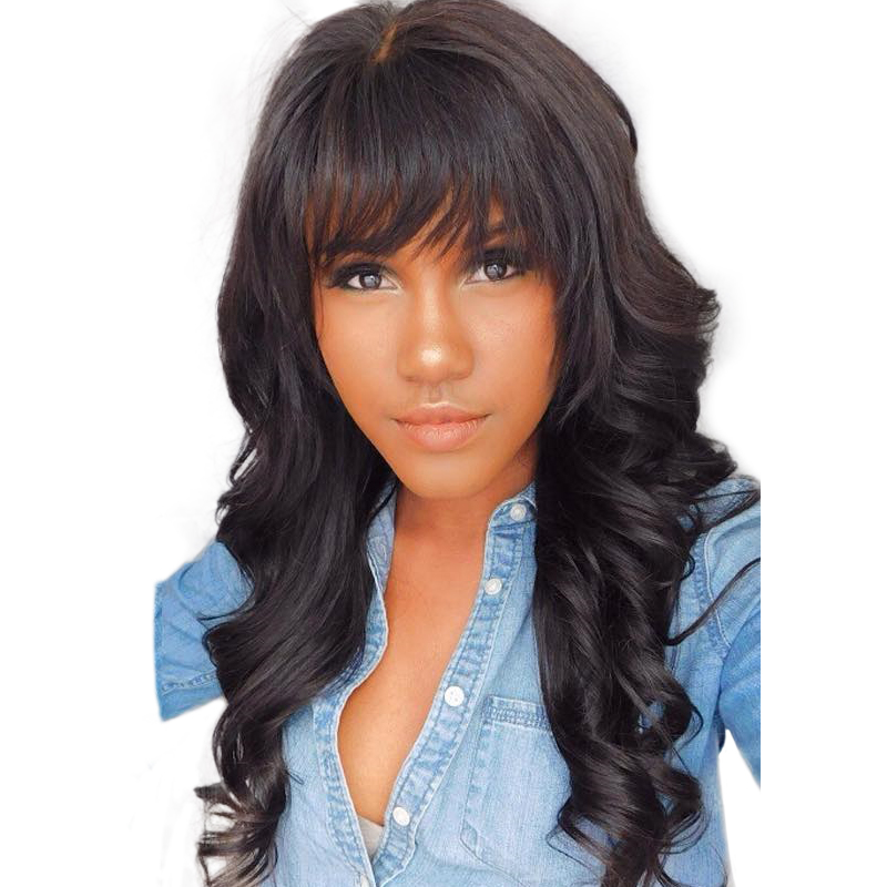 360 Lace Frontal Wig With Bangs Pre Plucked With Baby Hair 150 Body Wave Brazilian Lace