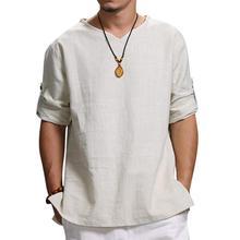 Harajuku Man Shirt Blouse Men's Summer New Pure Cotton And Hemp Top Comfortable