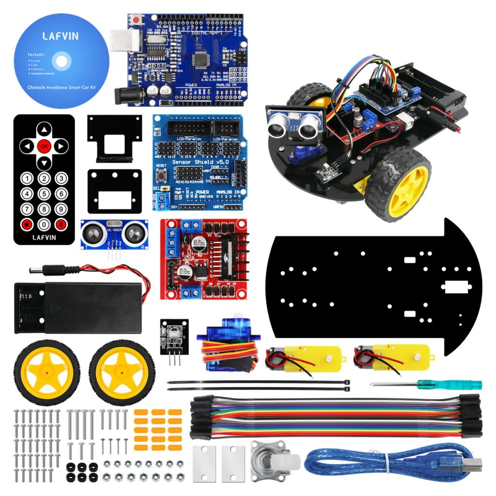 Lafvin carro robô inteligente 2wd chassis kit com módulo ultra-sônico, l298n placa de motorista, controle remoto, ir para arduino uno kit diy