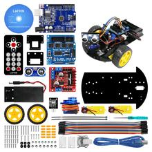 UNO DIY Kit 용 Arduino 용 초음파 모듈, 리모콘이있는 스마트 로봇 카 2WD 섀시 키트