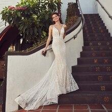 Silky Organza Wedding Dress 2019 V-neck backless